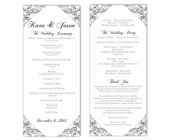Printable event Program Template Lovely Wedding Program Template Diy Editable Word File Instant