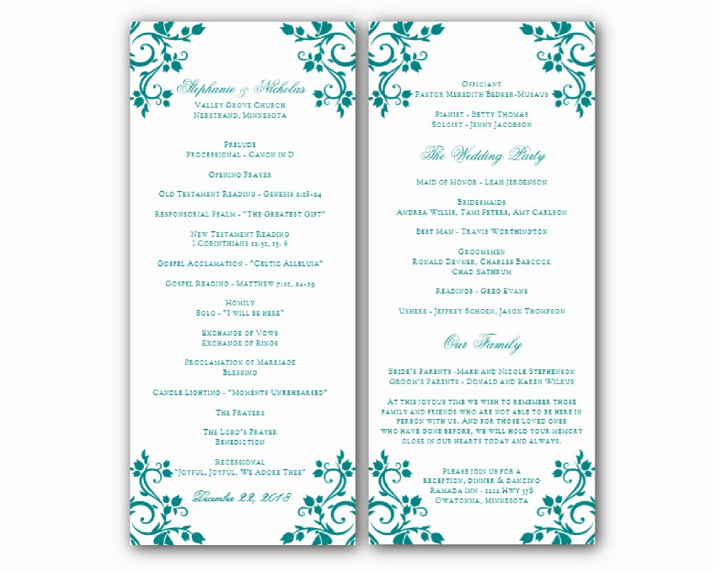 Printable event Program Template Luxury Free Printable Wedding Program Templates Word