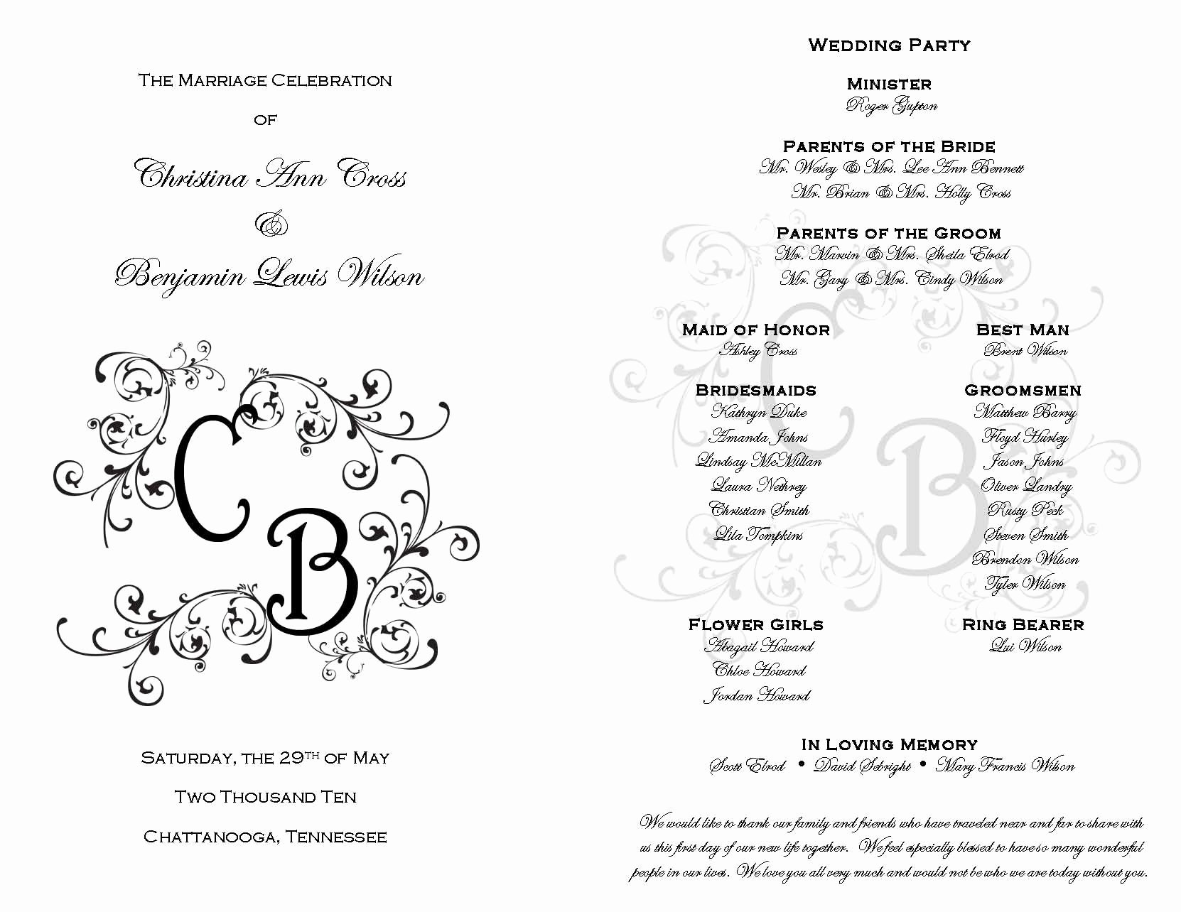 Printable event Program Template Luxury Printable Wedding Programs On Pinterest