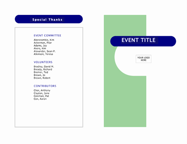 Printable event Program Template Unique event Program Half Fold 4 Pages