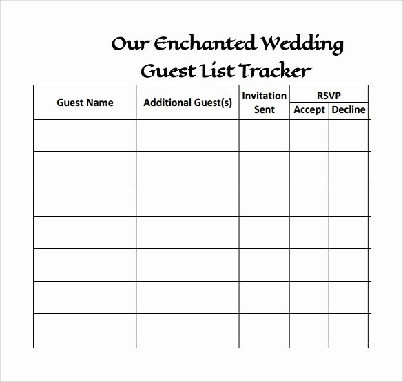Printable Guest List Template Awesome Simple Wedding Guest List Templates Excel Template