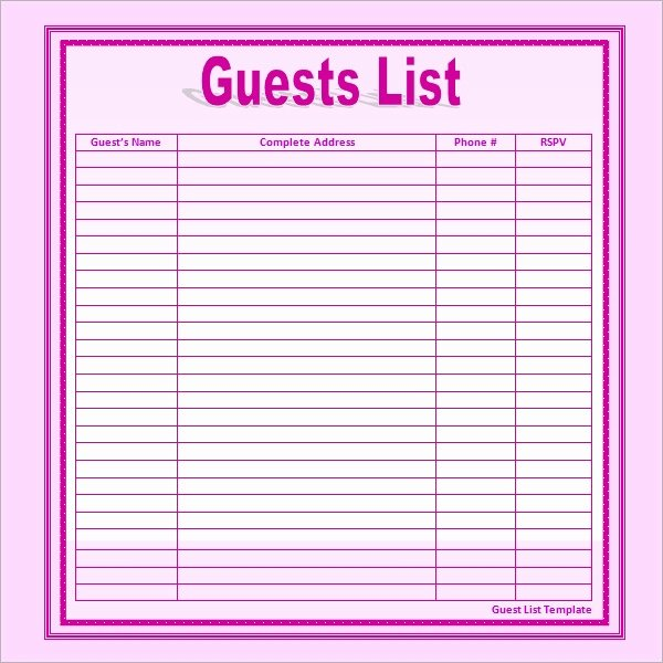 Printable Guest List Template Lovely 17 Wedding Guest List Templates Pdf Word Excel