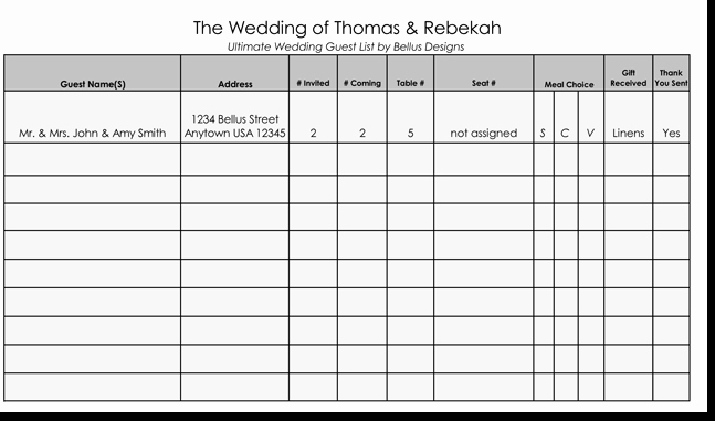 Printable Guest List Template Lovely Free Wedding Guest List Templates for Word and Excel