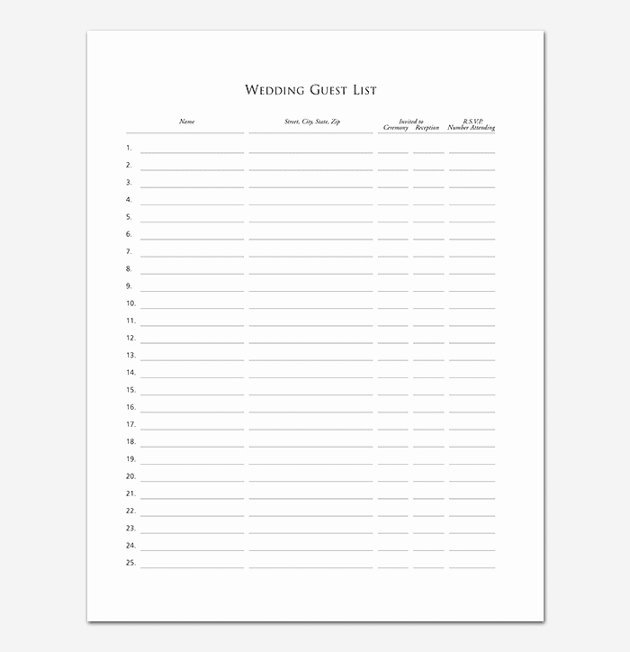 Printable Guest List Template Lovely Guest List Template 22 for Word Excel Pdf format