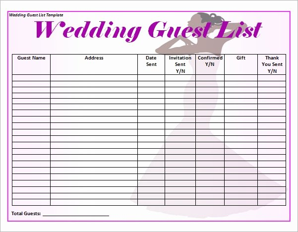 Printable Guest List Template New 17 Wedding Guest List Templates Pdf Word Excel