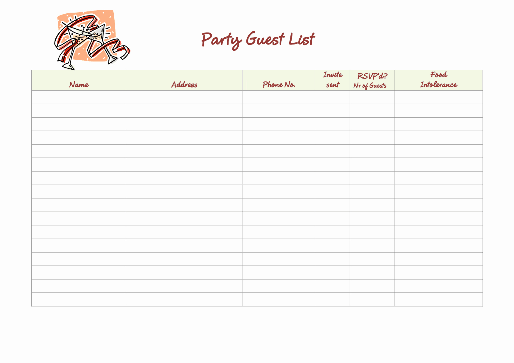 Printable Guest List Template Unique 41 Free Guest List Templates Word Excel Pdf formats
