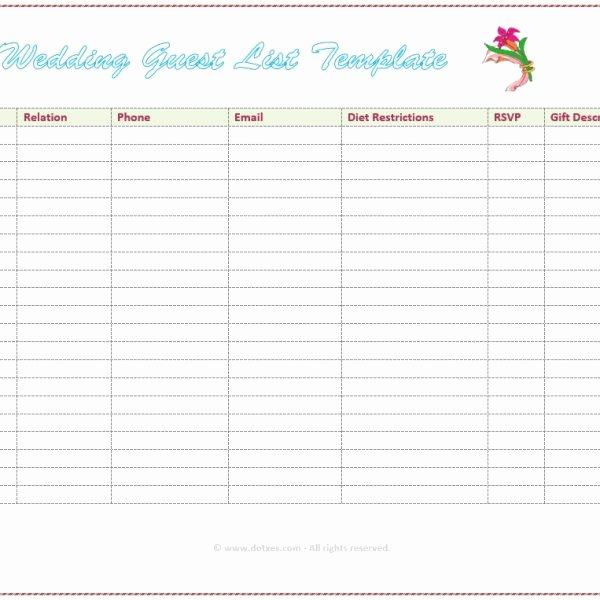 Printable Guest List Template Unique 7 Free Wedding Guest List Templates and Managers Intended