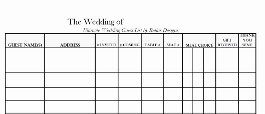 free able wedding guest rsvp list