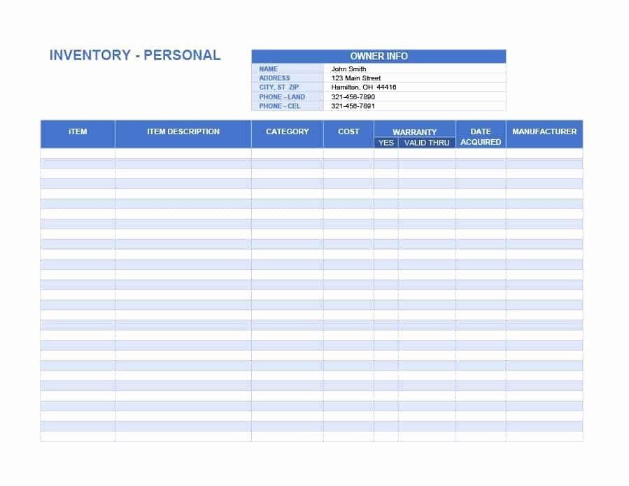 Printable Inventory List Template Elegant 45 Printable Inventory List Templates [home Fice