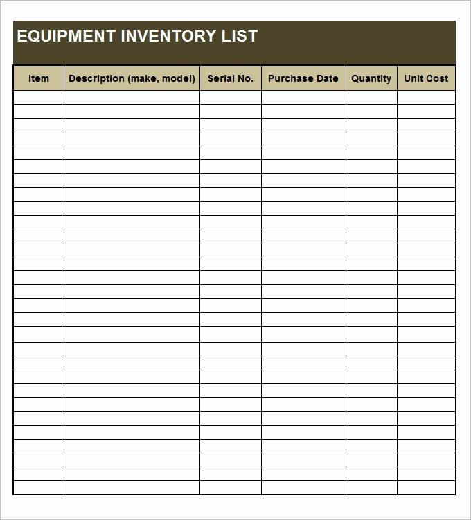 Printable Inventory List Template Lovely Sample Inventory List 30 Free Word Excel Pdf