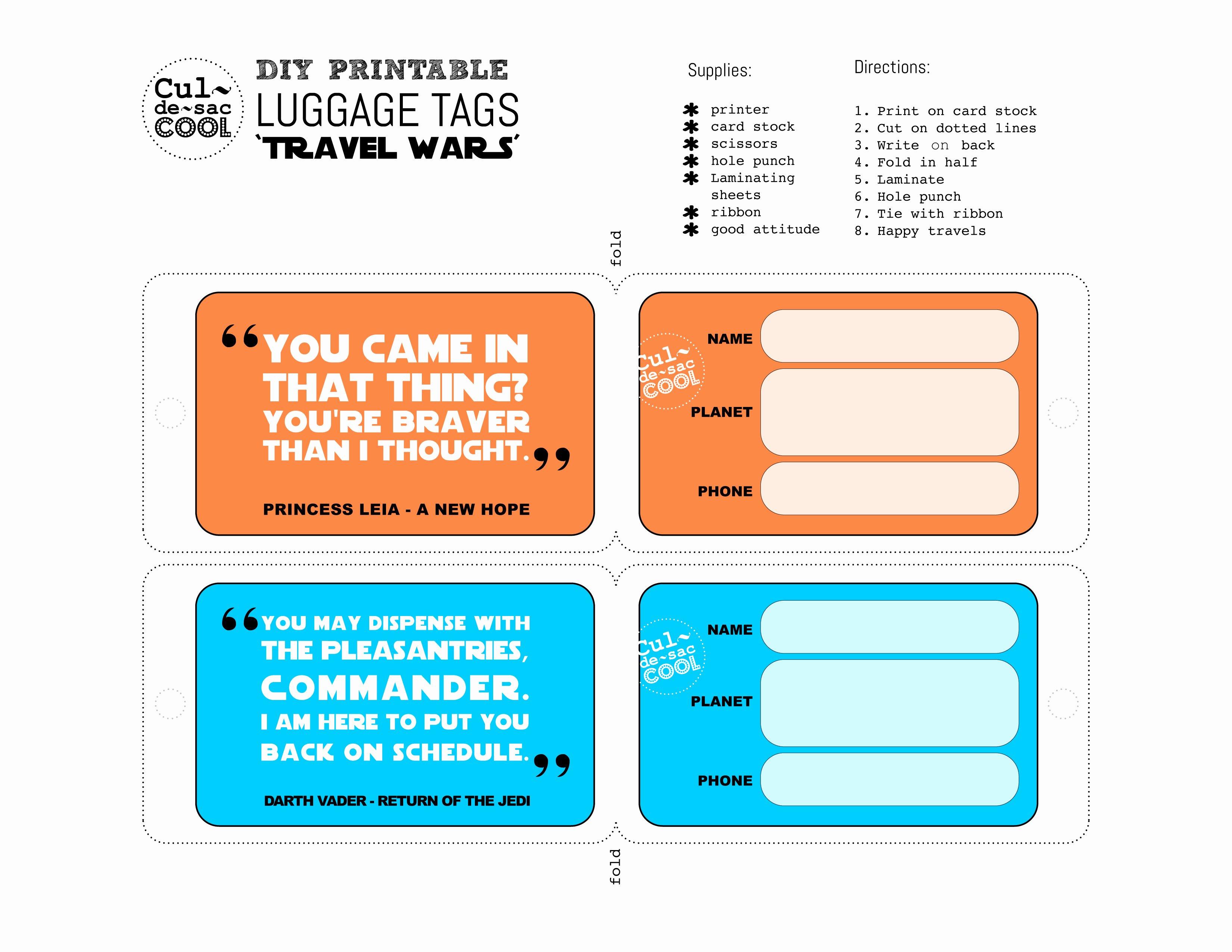 Printable Luggage Tags Template Beautiful Diy Printable Luggage Tags 'travel Wars'