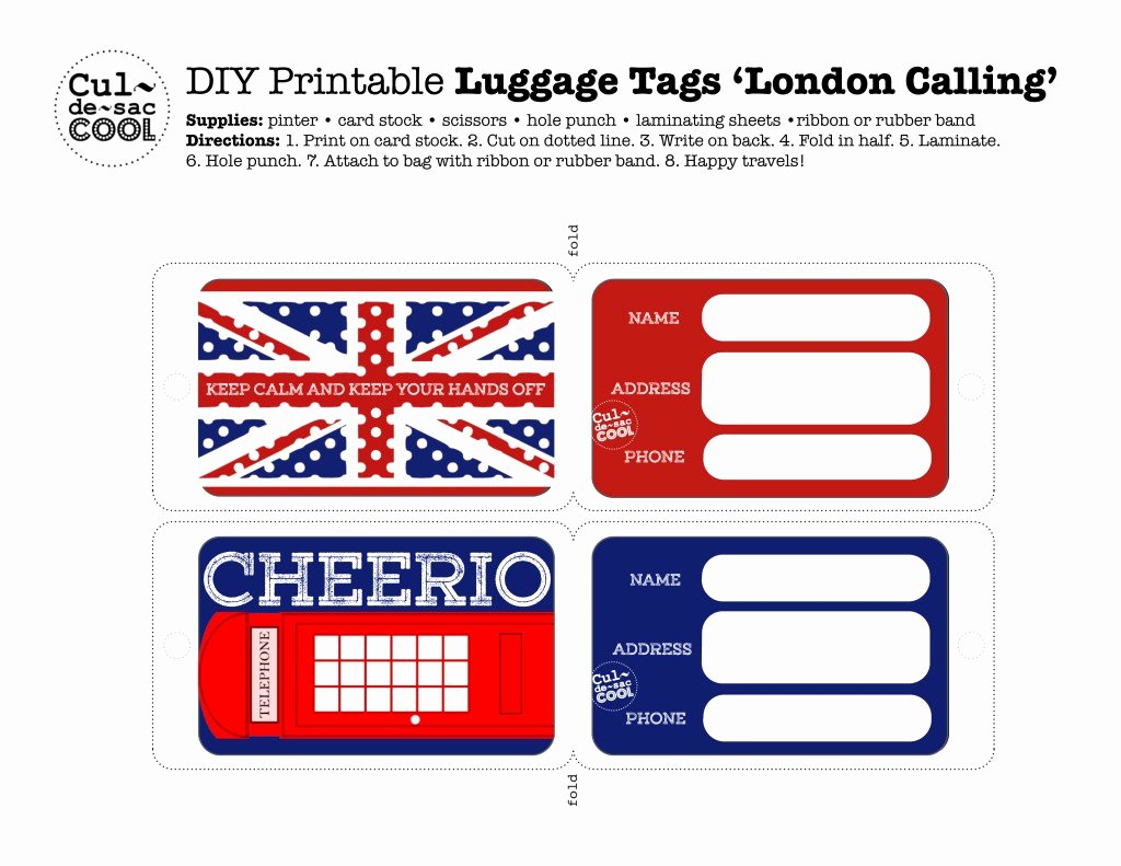 Printable Luggage Tags Template Best Of Diy Printable Luggage Tags 'london Calling'