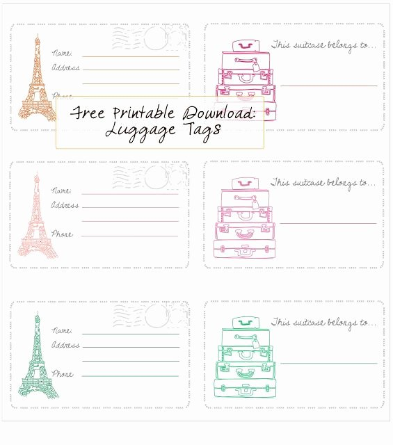 Printable Luggage Tags Template Best Of Free Printable – Luggage Tags