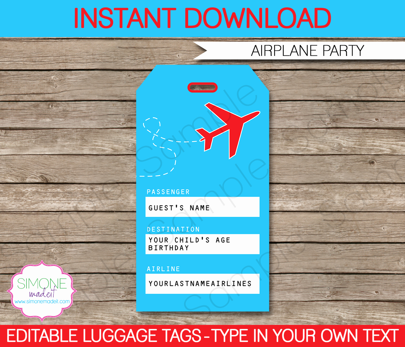 Printable Luggage Tags Template Lovely Airplane Party Printables Invitations & Decorations