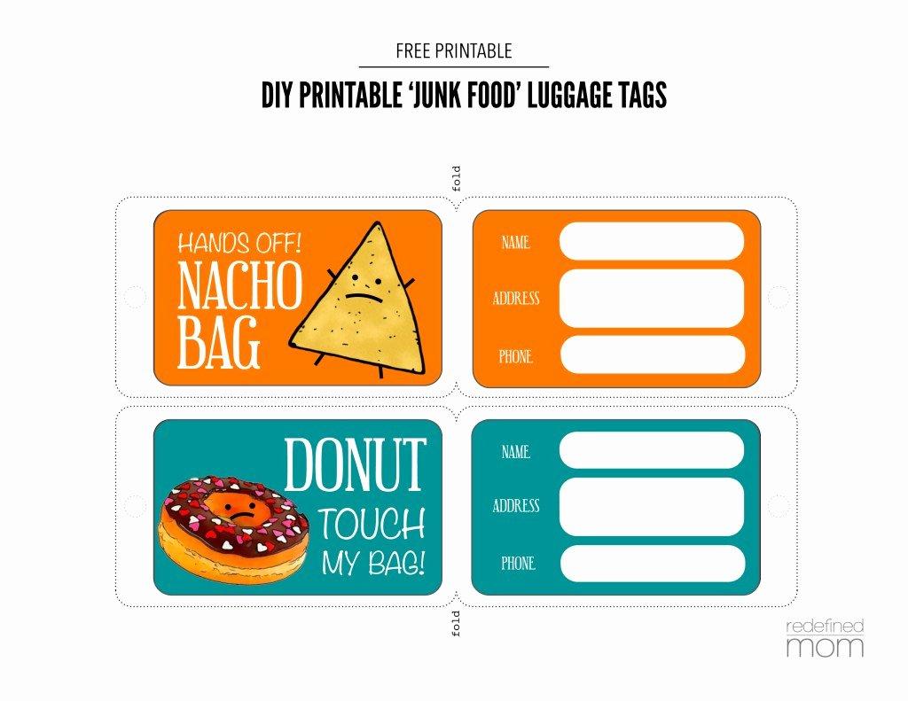 Printable Luggage Tags Template New Diy Printable Junk Food Luggage Tags