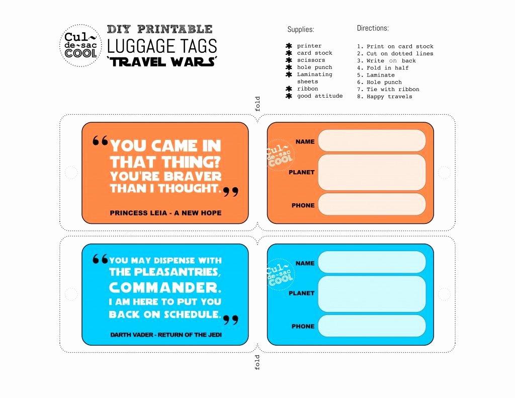 Printable Luggage Tags Template New Diy Printable Luggage Tags Travel Wars