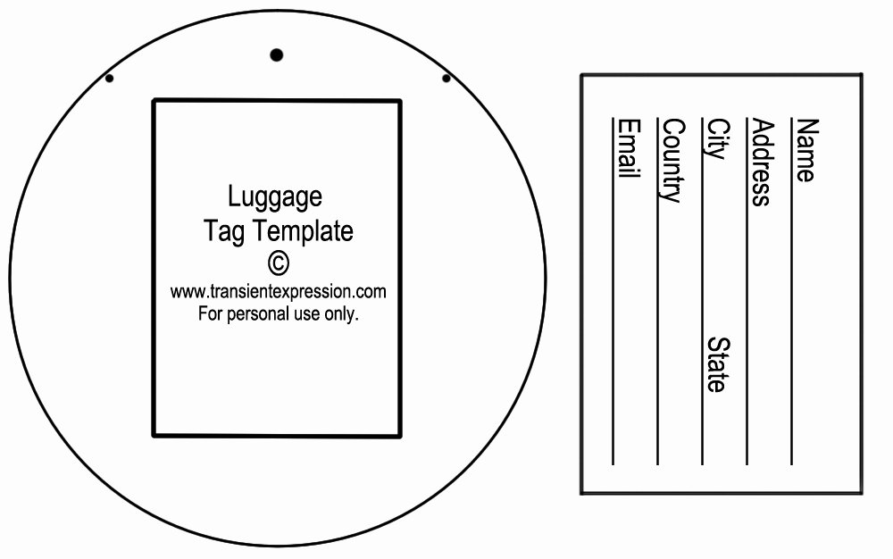 Printable Luggage Tags Template Unique Luggage Tag Template