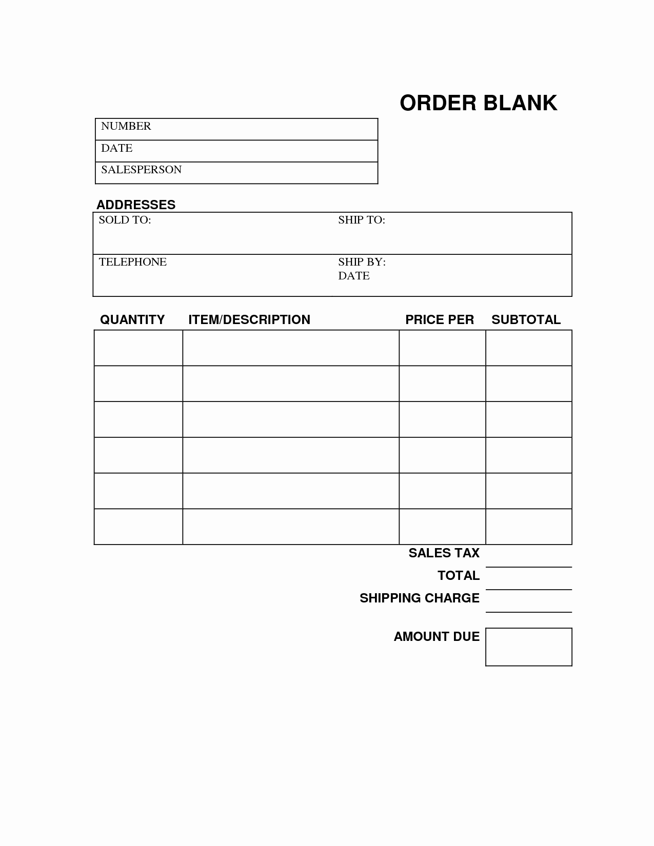 Printable order forms Templates Fresh Blank order form Printable