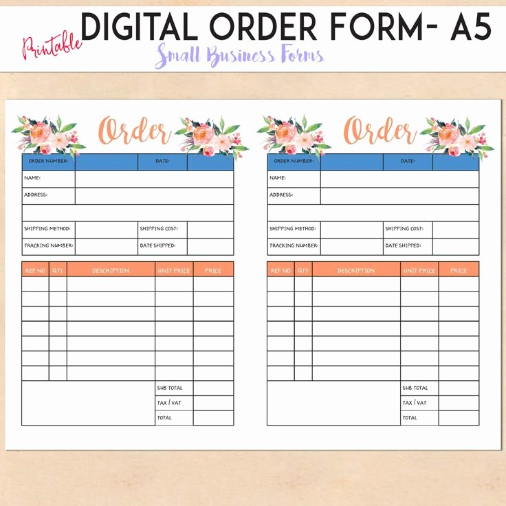 Printable order forms Templates Inspirational Digital order form Printable Template Custom