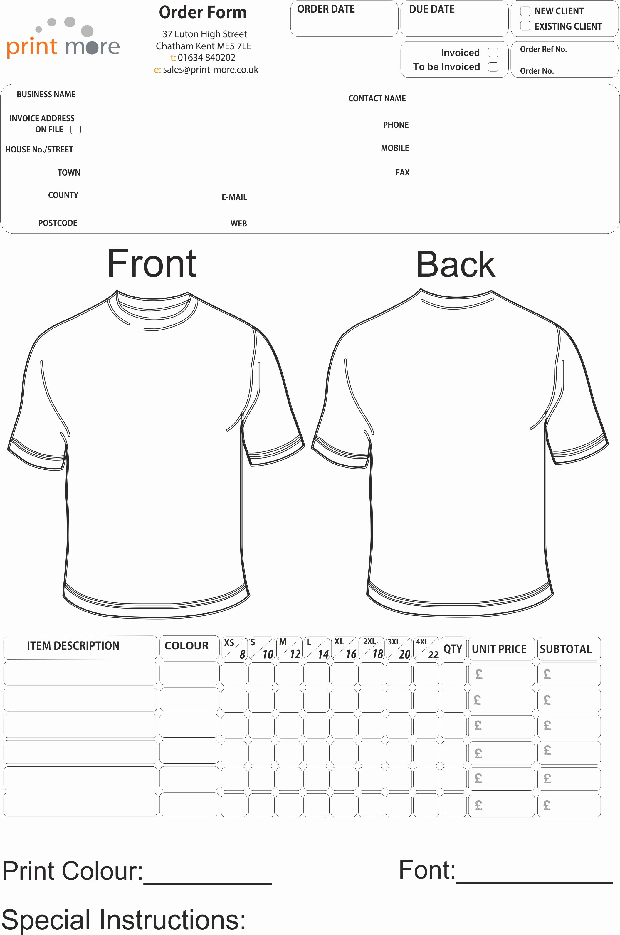 Printable order forms Templates Lovely T Shirt order form Template