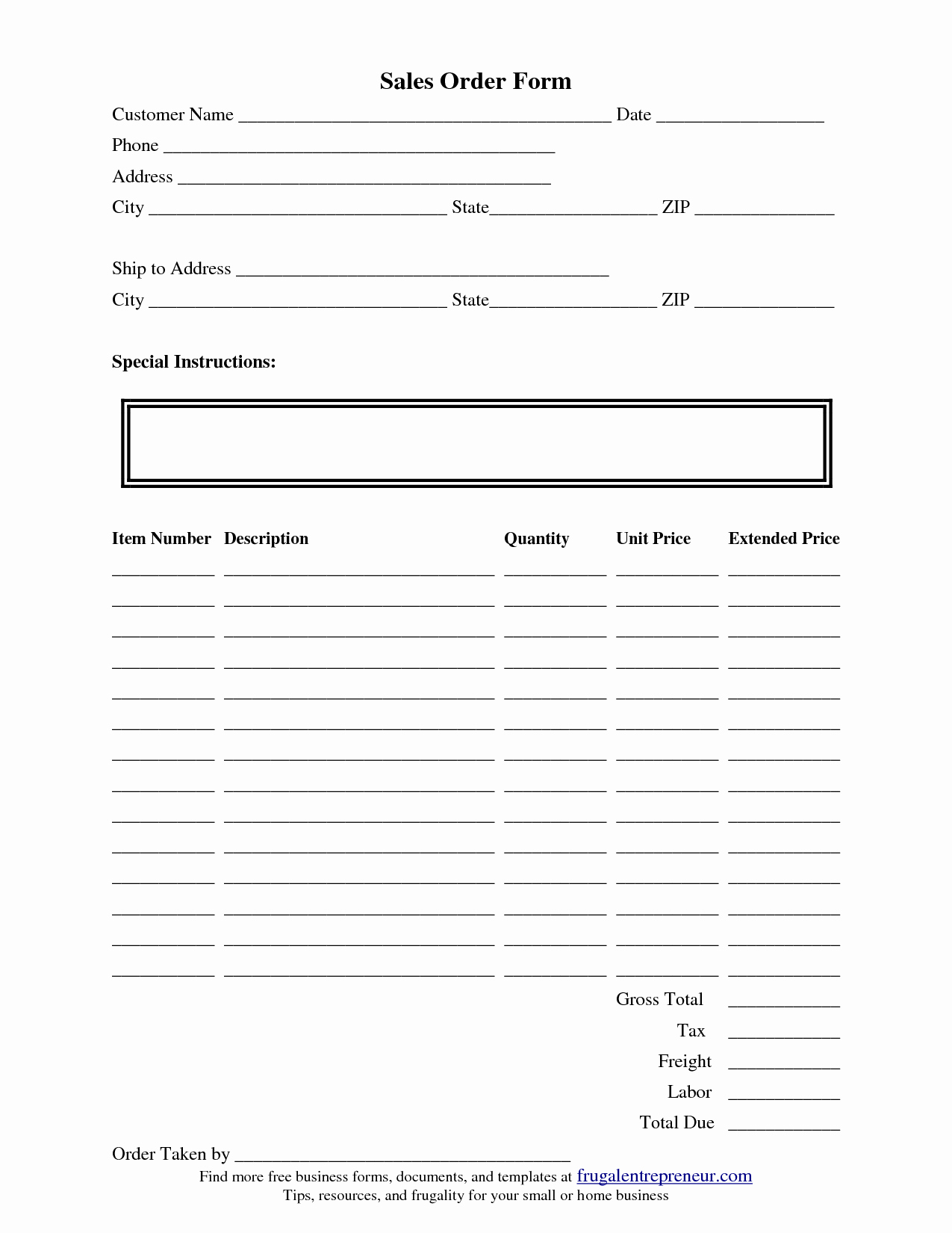 Printable order forms Templates New order form Template