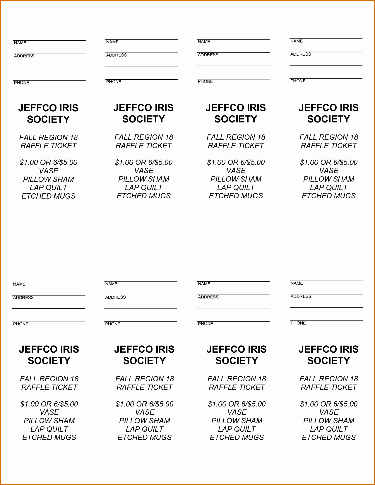 Printable Raffle Tickets Template Awesome 5 Free Raffle Ticket Template