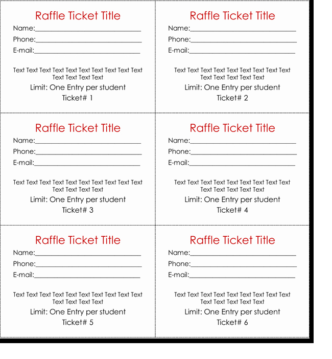 Printable Raffle Tickets Template Beautiful Raffle Tickets Template
