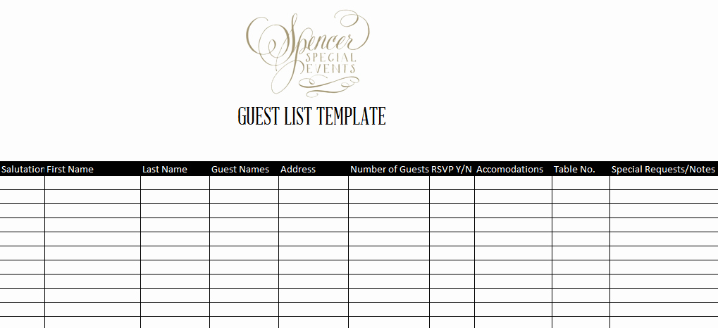 Printable Wedding Guest List Template Awesome Guest List Template
