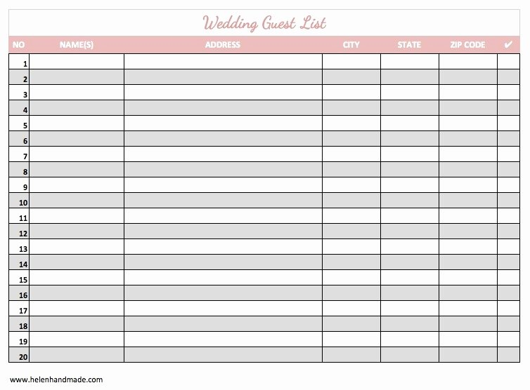 Printable Wedding Guest List Template Awesome Printable Wedding Guest List Template Pdf