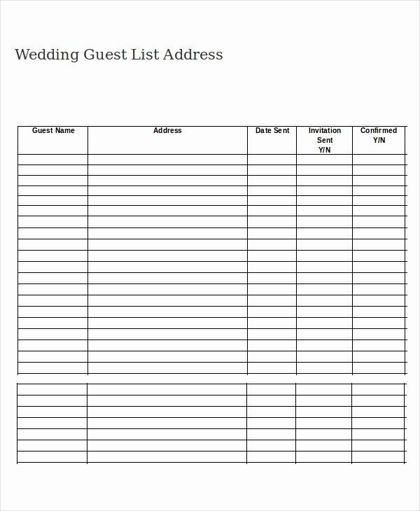 Printable Wedding Guest List Template Beautiful Wedding Guest List Template 9 Free Word Excel Pdf