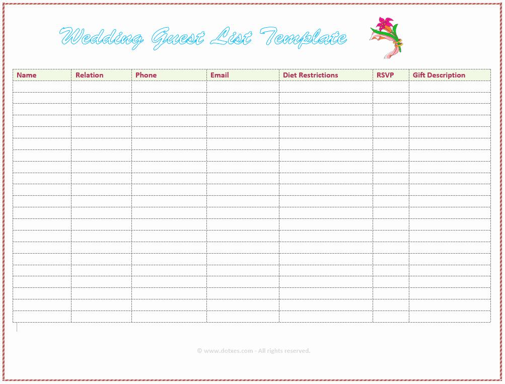 free wedding guest list templates