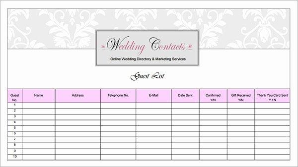 Printable Wedding Guest List Template Best Of Printable Wedding Guest List Template Pdf