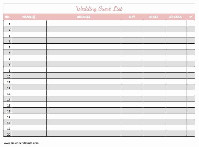 Printable Wedding Guest List Template Elegant 17 Wedding Guest List Templates Excel Pdf formats