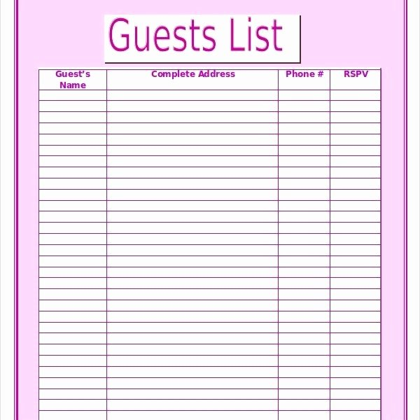 Printable Wedding Guest List Template Elegant Wedding Guest List Template – 9 Free Word Excel Pdf