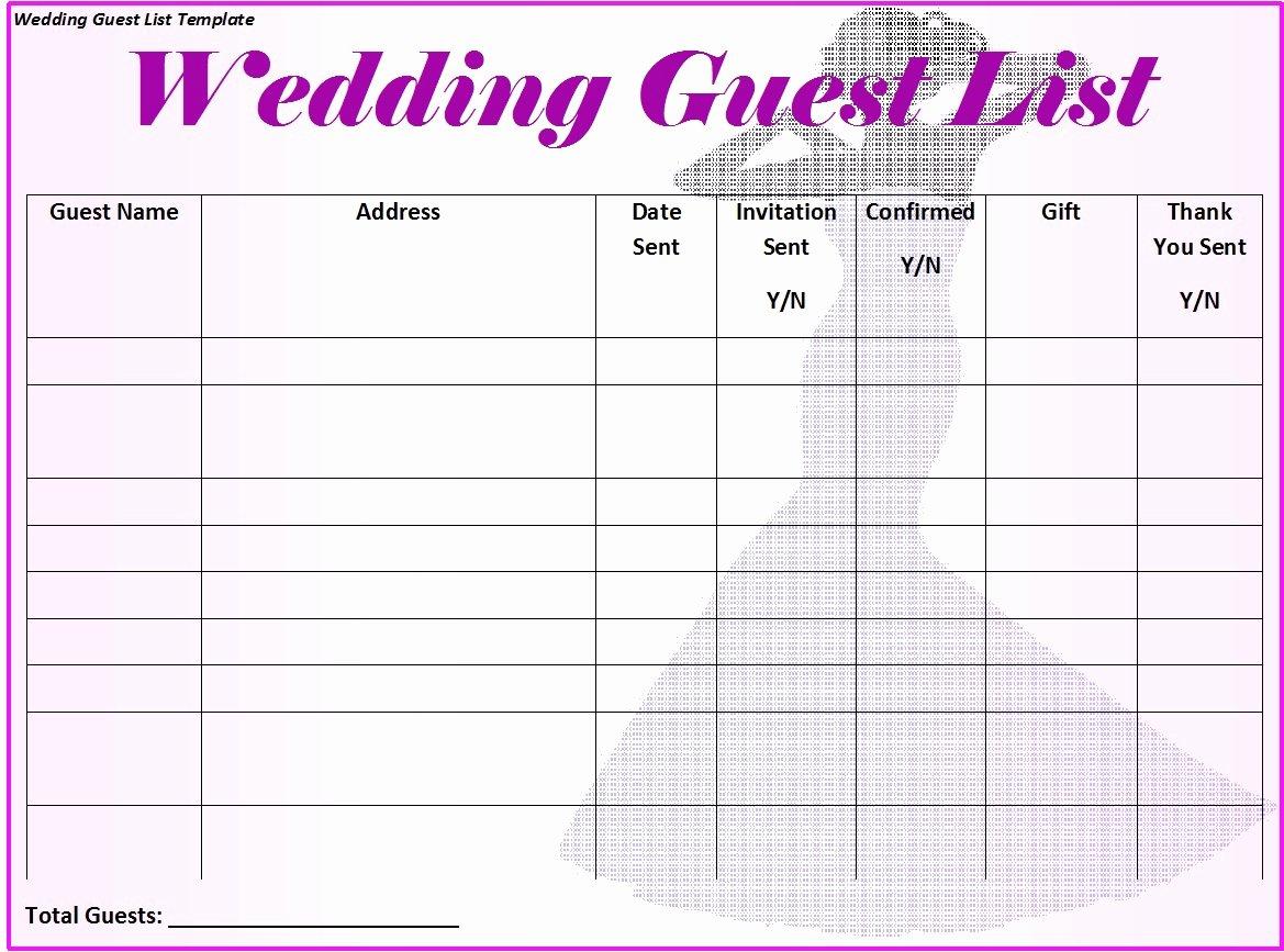 Printable Wedding Guest List Template Fresh 30 Free Wedding Guest List Templates Templatehub