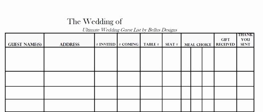 Printable Wedding Guest List Template Fresh Free Downloadable Wedding Guest & Rsvp List Bellus Designs