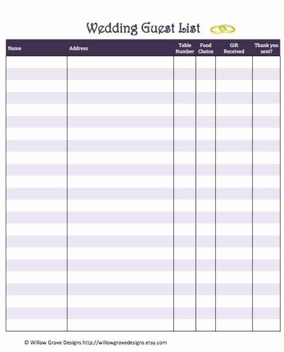 Printable Wedding Guest List Template Fresh Items Similar to Wedding Guest List organizer Instant