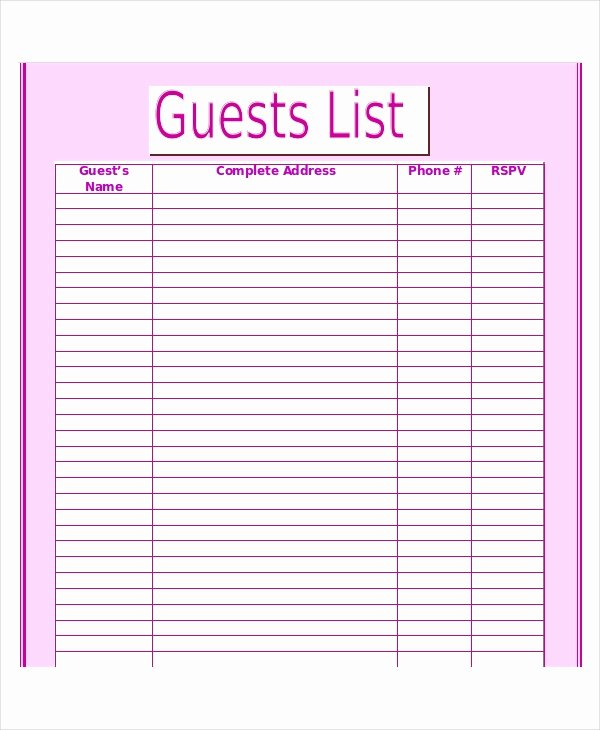 Printable Wedding Guest List Template Fresh Wedding Guest List Template 9 Free Word Excel Pdf