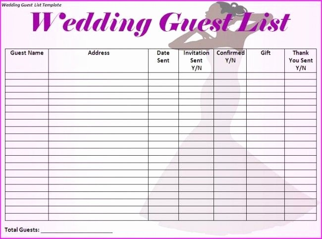 Printable Wedding Guest List Template Inspirational Wedding Guest List Template I Would Make Just A Few More