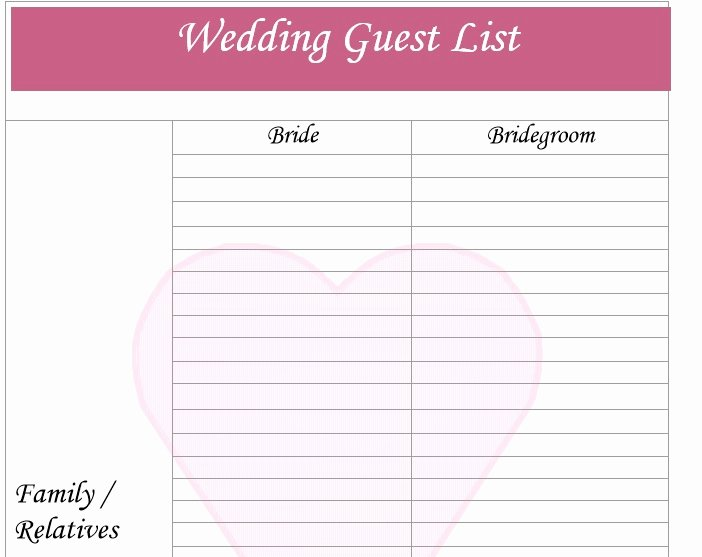 Printable Wedding Guest List Template Lovely 30 Free Wedding Guest List Templates Templatehub
