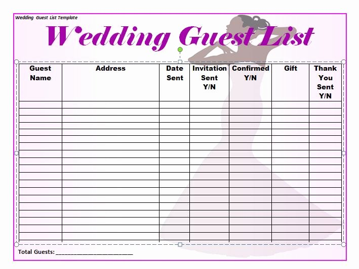 Printable Wedding Guest List Template Lovely 35 Beautiful Wedding Guest List & Itinerary Templates