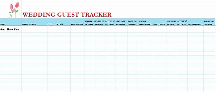 Printable Wedding Guest List Template Lovely 37 Free Beautiful Wedding Guest List & Itinerary Templates