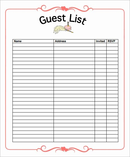 Printable Wedding Guest List Template Lovely Free 10 List Templates In Word