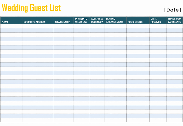 Printable Wedding Guest List Template Lovely Printable Wedding Guest List Template for Word and Excel