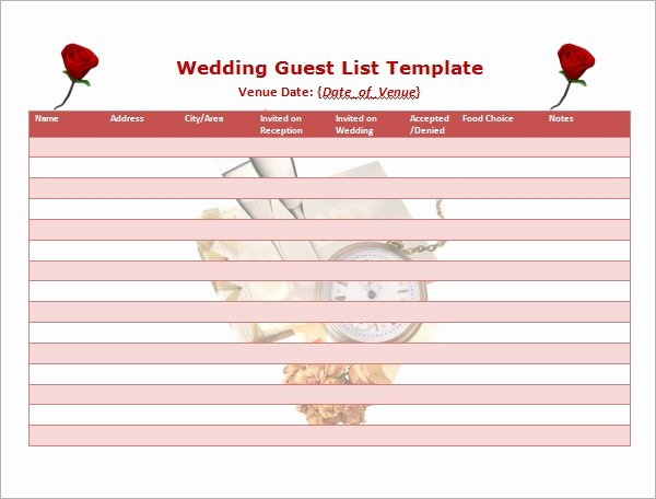 Printable Wedding Guest List Template New 17 Wedding Guest List Templates Pdf Word Excel