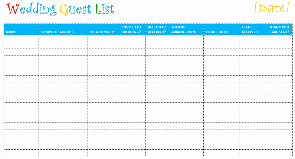 Printable Wedding Guest List Template New Free Editable Wedding Guest List Templates – Document