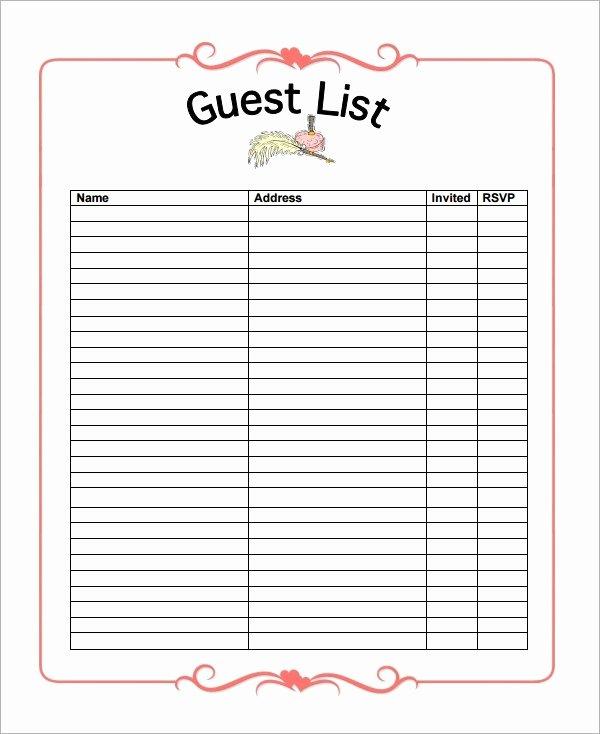 Printable Wedding Guest List Template Unique 17 Wedding Guest List Templates Pdf Word Excel