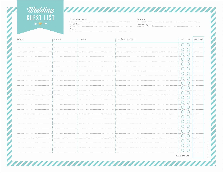 Printable Wedding Guest List Template Unique Free Wedding Planning Printables & Checklists