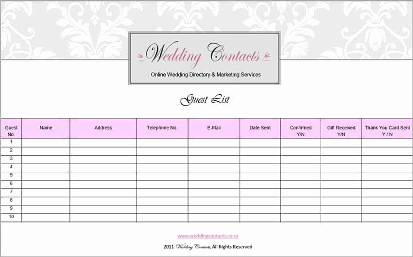 Printable Wedding Guest List Template Unique top 5 Resources to Get Free Wedding Guest List Templates
