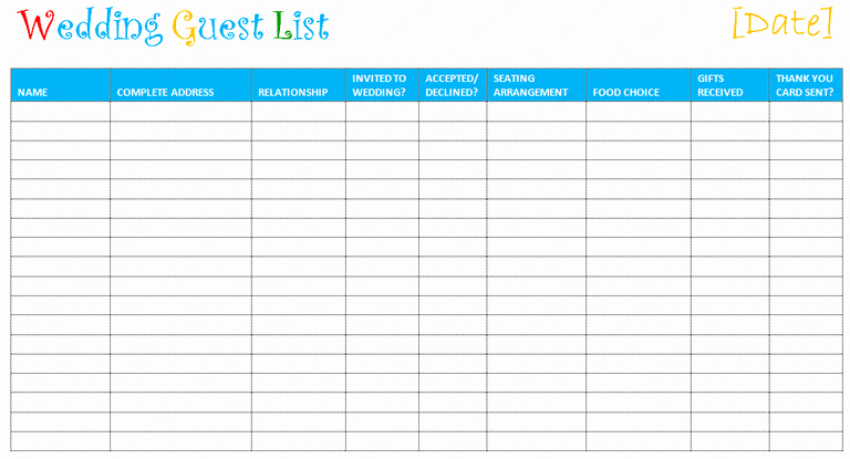 Printable Wedding Guest List Template Unique Wedding Guest List Template to Set A Wedding Ceremony On A